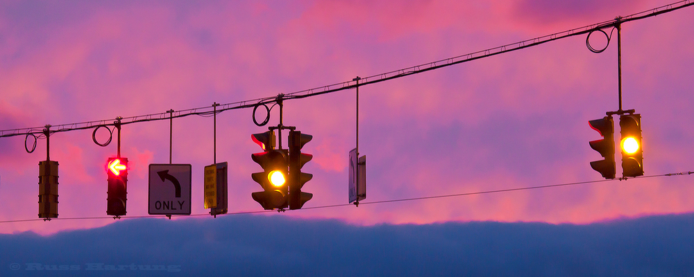 """Traffic Lights At Sunset"" - Jury Selection - Adirondack Artists Guild Juried Show"