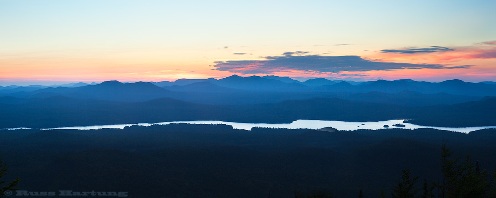 Sunrise from the top of Catamount Mountain looking West over Union Falls Pond.