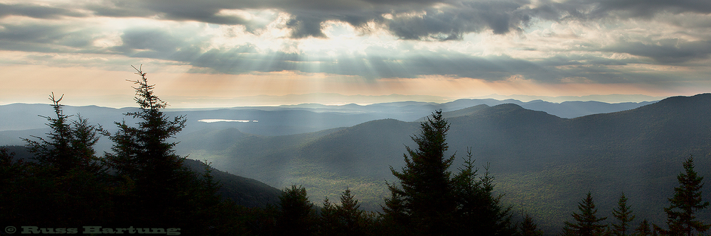 """Gods Rays"" from the top of Catamount Mountain."