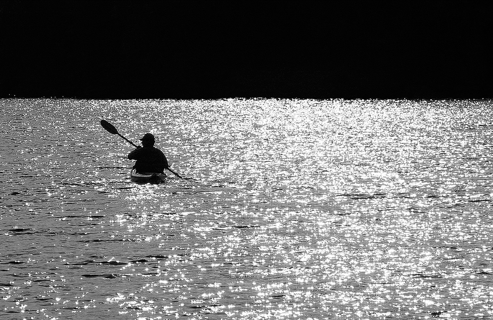 Heading back with my friend Gary in the late afternoon after a day of kayaking on Franklin Falls Pond.