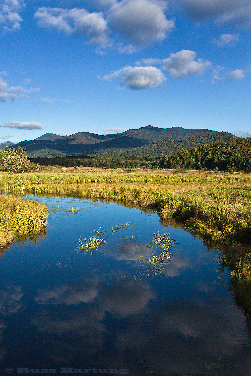 Late summer afternoon near Saranac Lake. Looking towards McKenzie Mountain and Whiteface Mountain.