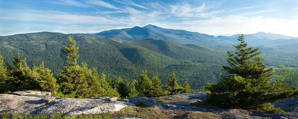 Whiteface Mountain from the top of Catamount Mountain in the early morning.