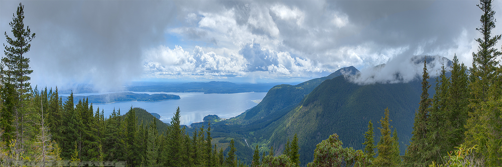 View from Mount Walker overlooking the Hood Canal and Puget Sound in Northwest Washington State.
