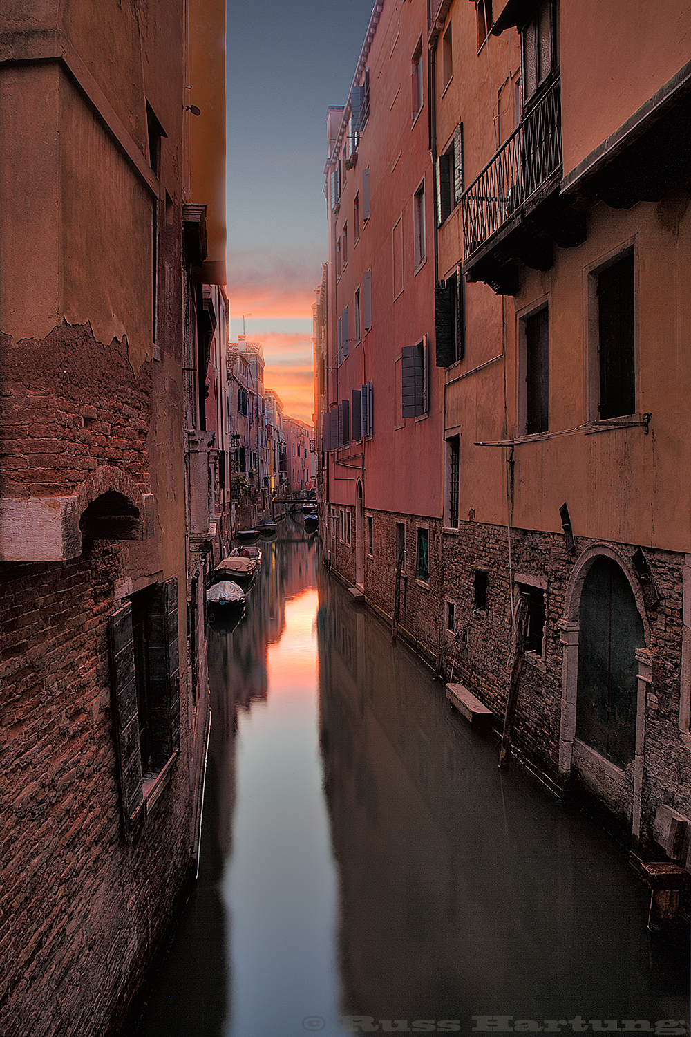 Sunrise over one of the many canals in Venice, Italy.