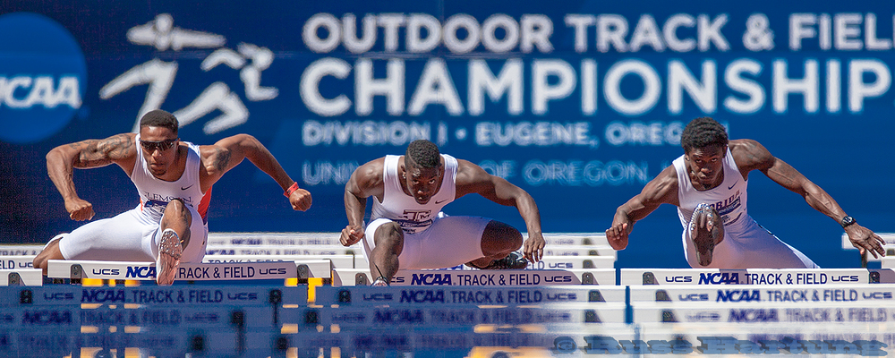 Finals of the hurdles at the NCAA Division 1 National Championships in Eugene, Oregon.