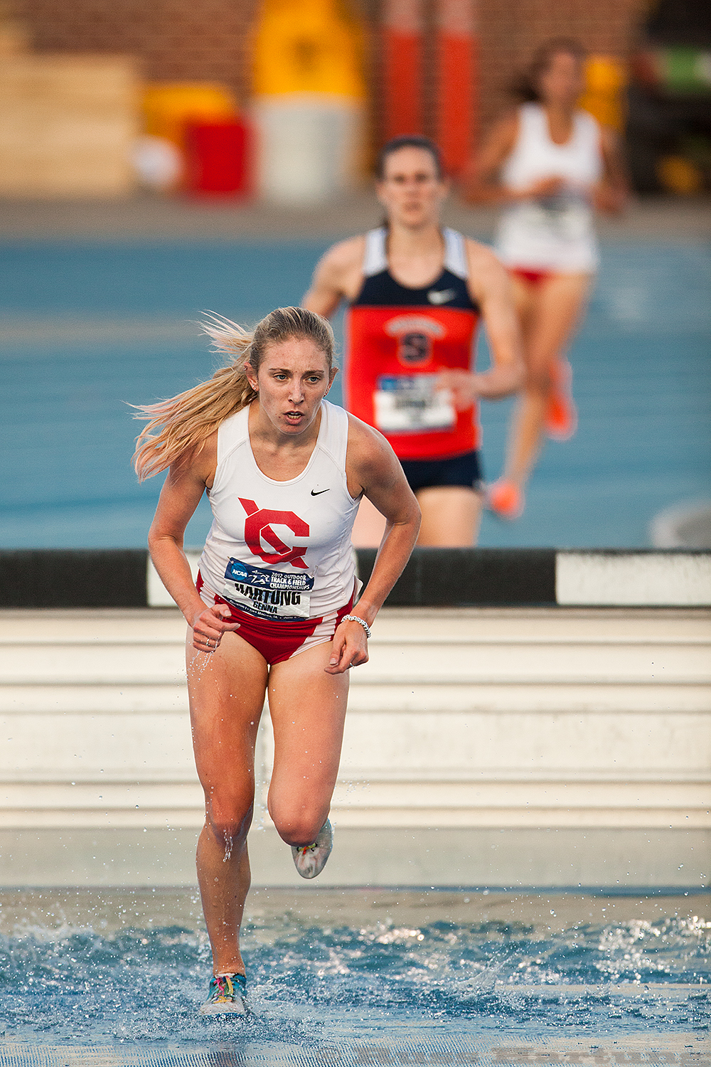 Genna Hartung clearing the water hurdle at the 2012 NCAA Division 1 Outdoor National Championships in Des Moines, Iowa.
