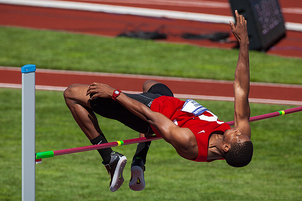 Montez Blair executes perfect form in his high jump at the NCAA Division 1 National Championships in Eugene, Oregon.