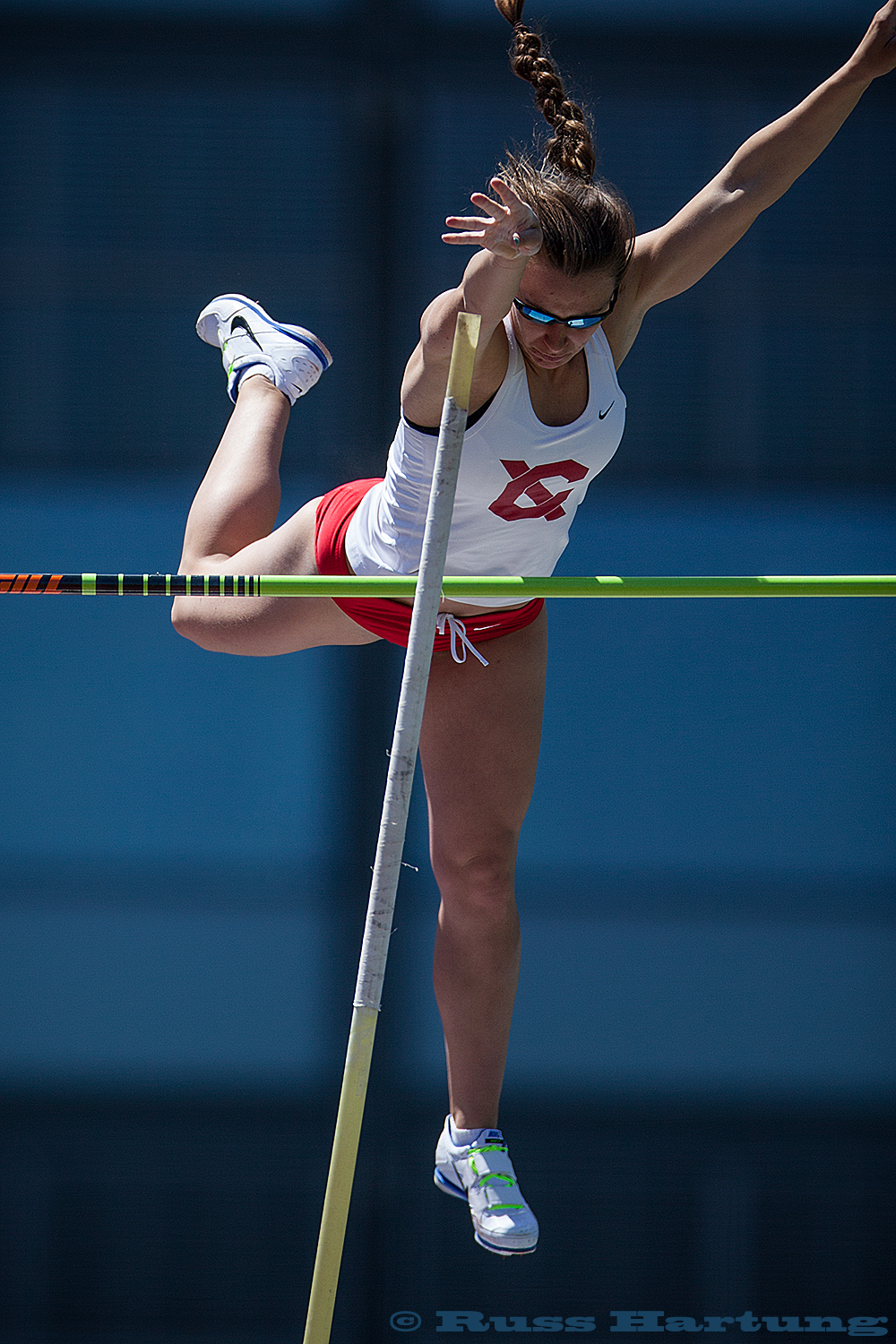 Pole vault competition at the 2013 Heptagonal Championships at Princeton.