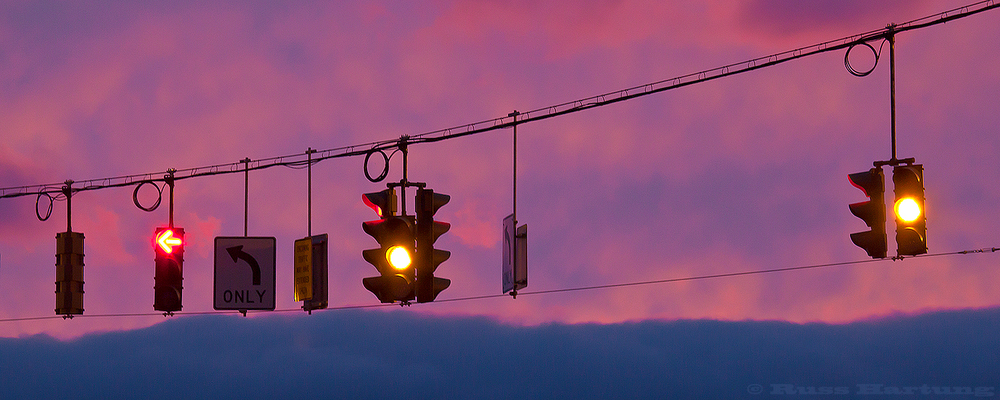 Traffic lights at sunset.