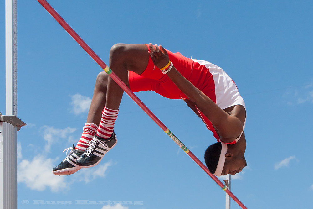 This high jumper executes a perfect arc during competition in Princeton, New Jersey.