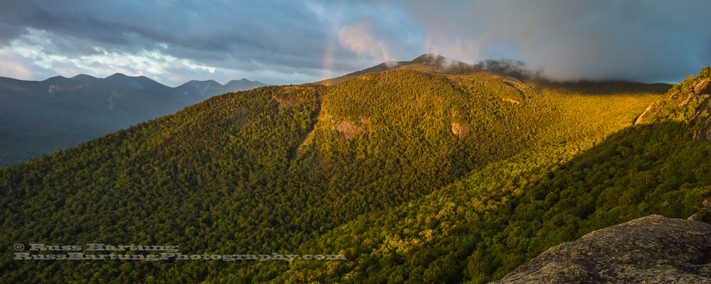 Rainbow at sunrise on Little Porter Mountain.