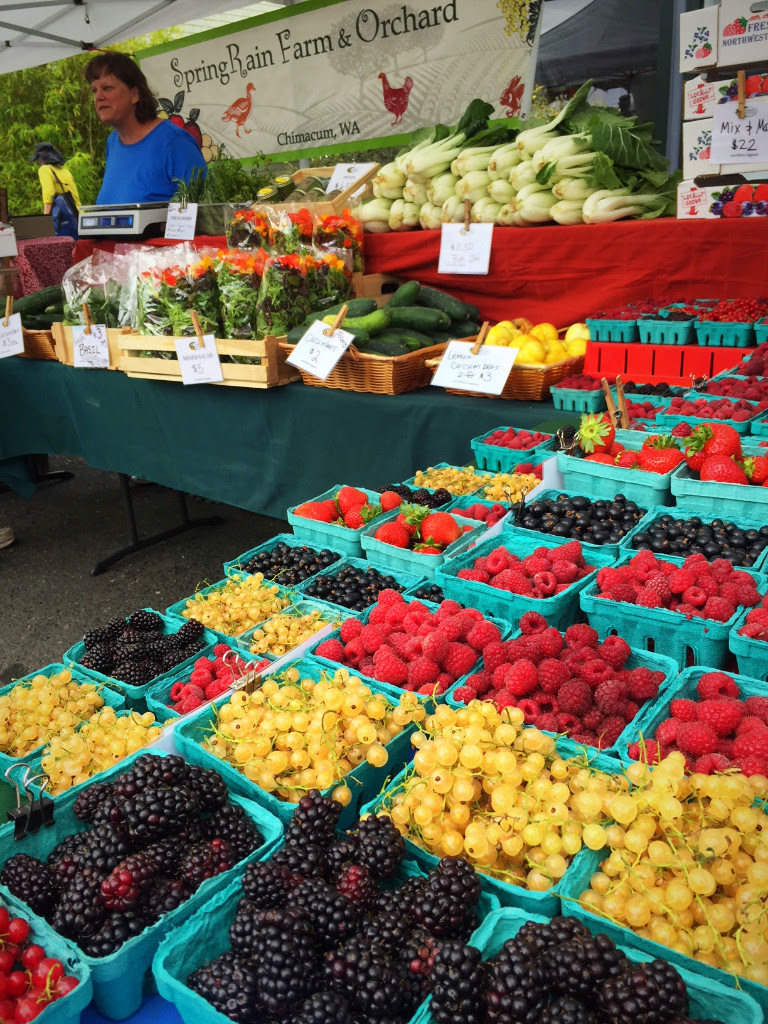 SpringRain Farm and Orchard has a wide assortment of local berries. Also find berries of many types from other market farmers. Yum!