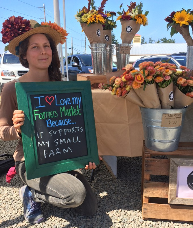 Lacey Allrey, Sweet Seed Flower Farm, Chimacum Farmers Market celebrates National Farmers Market Week.