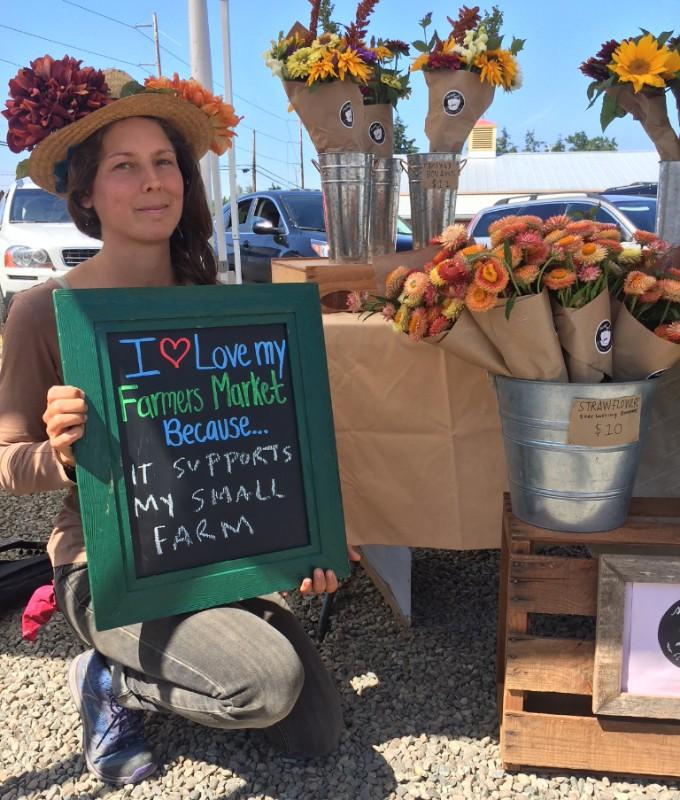 Lacey Allrey, Sweet Seed Flower Farm, Chimacum Farmers Market celebrates National Farmers Market Week.