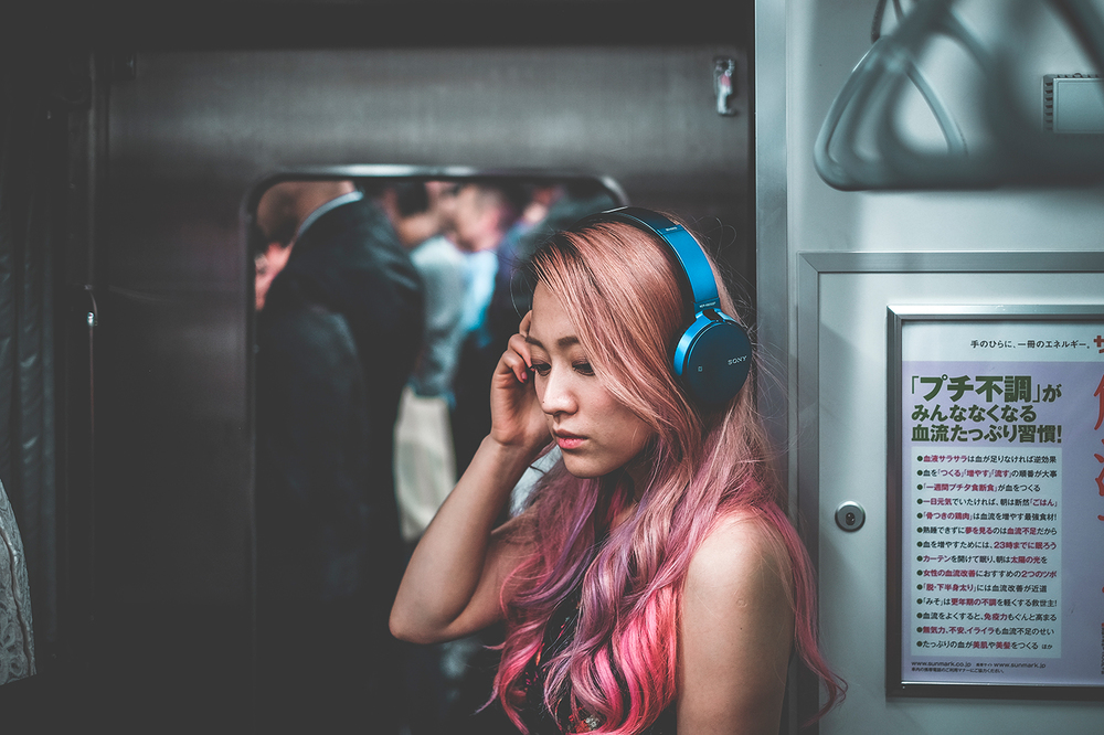 """Lost in Music"" ... this shot was taken on the Yamanote Line, in Shinjuku, Tokyo, aka the world's busiest train station, and a very apt location to put the mdr-xb650bt headphones to the test."
