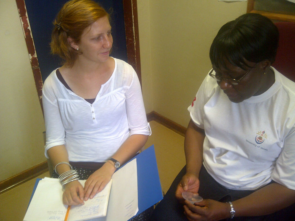 A nurse at the University of Venda, South Africa gives feedback on the JustMilk device.