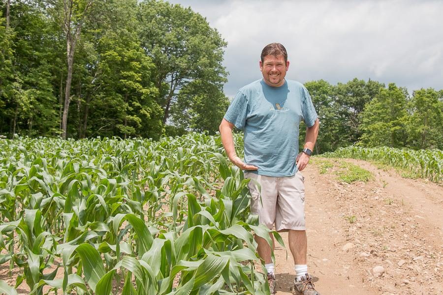 """Mike checking out The Farm's Famous Sweet Corn.  """"knee high by the fourth of July"""" - connecting between the field to the farm stand."""