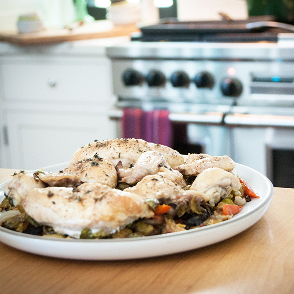 ROASTED CHICKEN OVER BRUSSELS SPROUTS