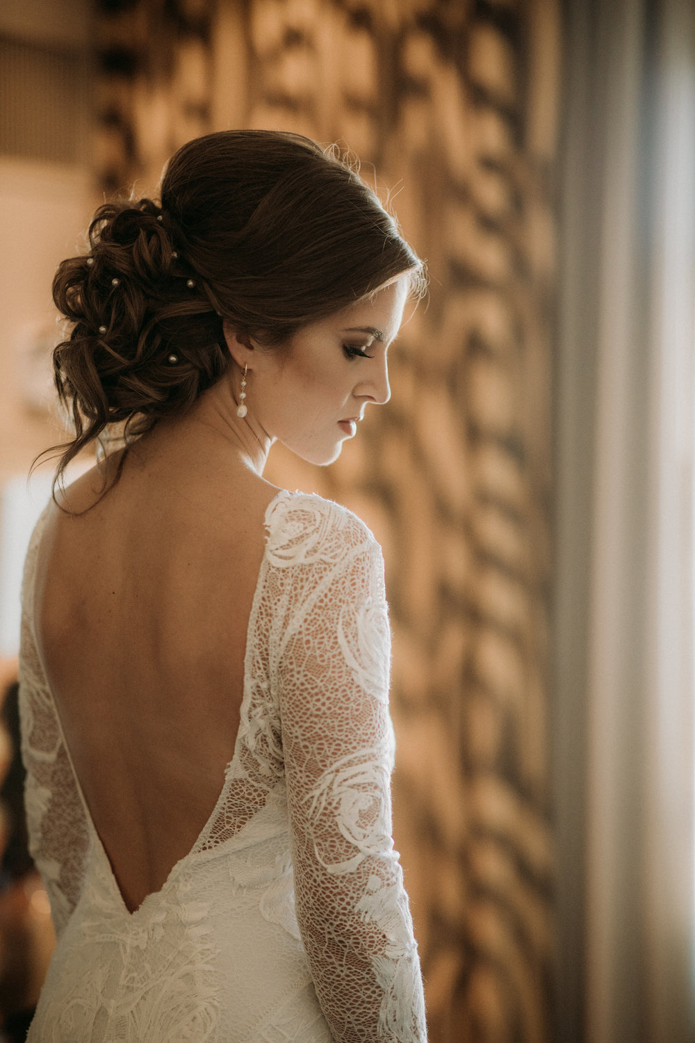 Bridal shot looking into distance, makeup by betty rose makeup artist