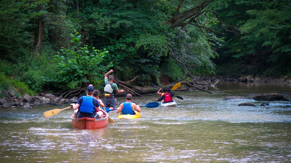 A group of paddlers explore Abbott's Creek.