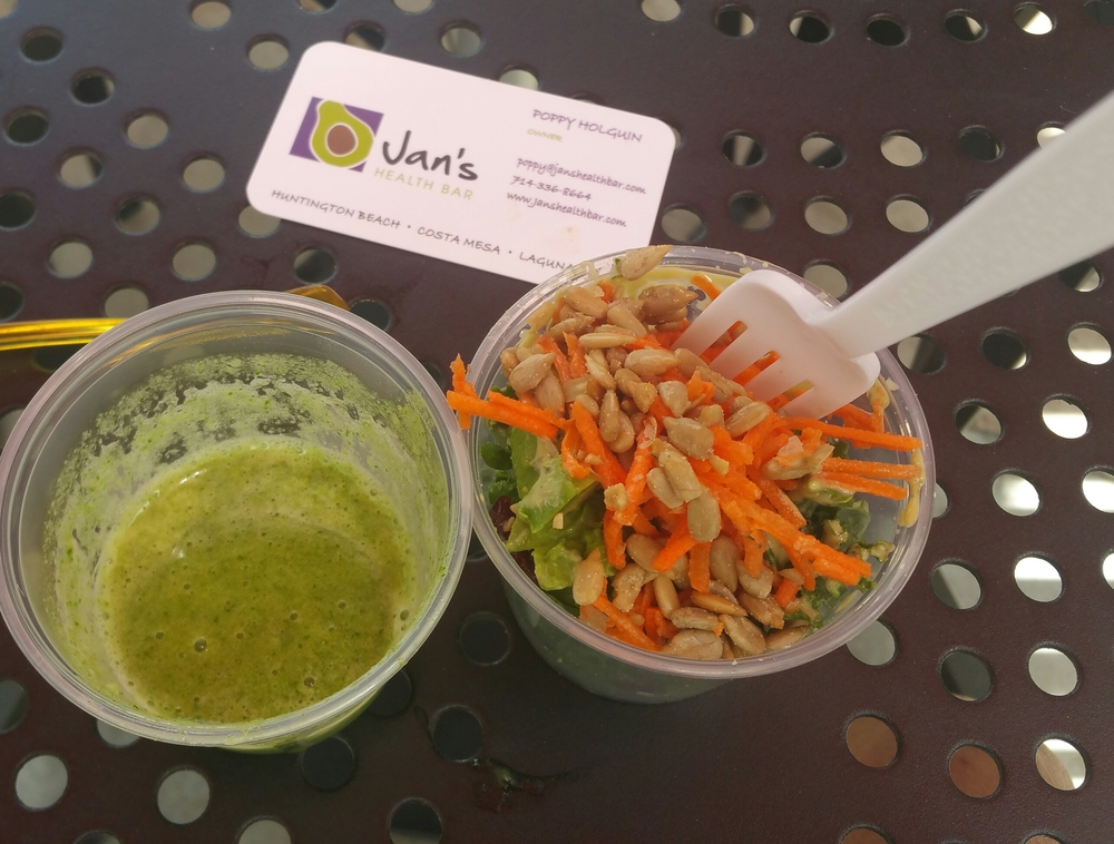 Samples of the kale salad and green smoothie