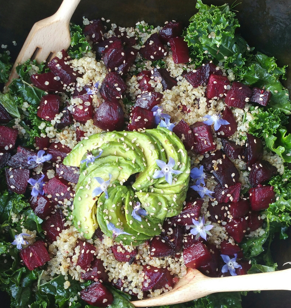 Kale and roasted beet salad with quinoa and a lemon, olive oil, mustard, dill dressing. Add a little nutritional yeast to the dressing to get some vitamin B12!