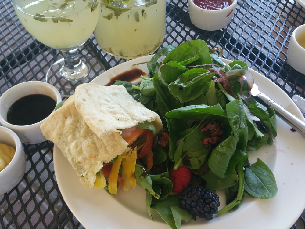 A veggie wrap, with salad, and those backberries!