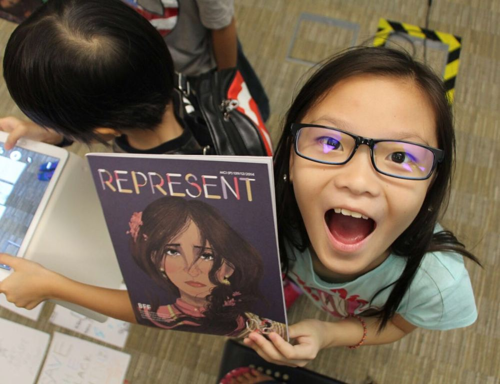 CHARLENE's HAPPINESS upon RECEIVING a copy of think tank's  represent magazine could not be any more obvious!