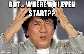 Jackie Chan wondering confused by what to do