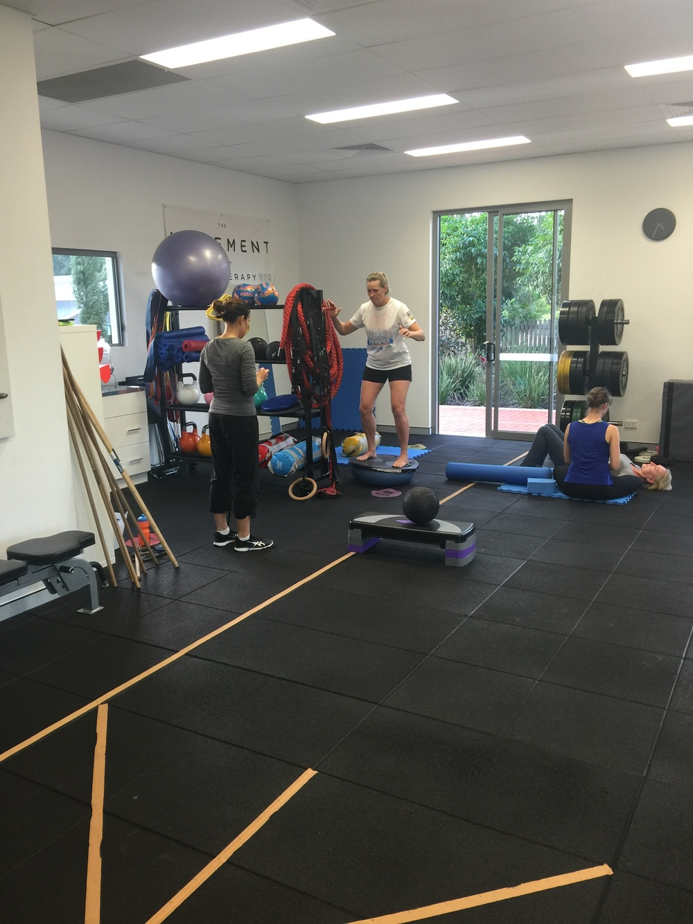 Chari and Issy working in our gym with 2 clients.
