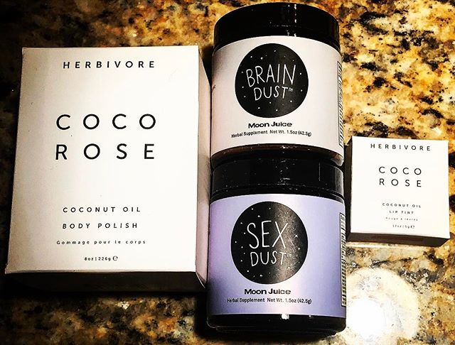 Super excited to try my new coco rose 🌹 body polish and lip gloss from @herbivorebotanicals and brain and sex dust from @moonjuiceshop!!' #wellness #cocorose #herbivorebotanicals #moonjuice #sex #brain #lifestyleblogger #lifestyle #blogger #bloggerstyle #bloggerlife #rose #treatyourself #spoilyourself #loveyourself #theskinnyconfidential #blog #femalehealth