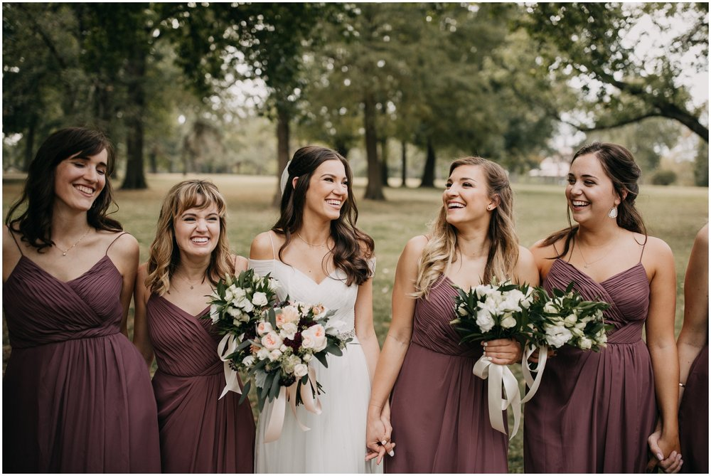 First Look With Bridesmaids, St. Louis Wedding, Jefferson Underground Gallery, Burgundy Bridesmaids Dresses, Mis-Matched Bridesmaids Dresses