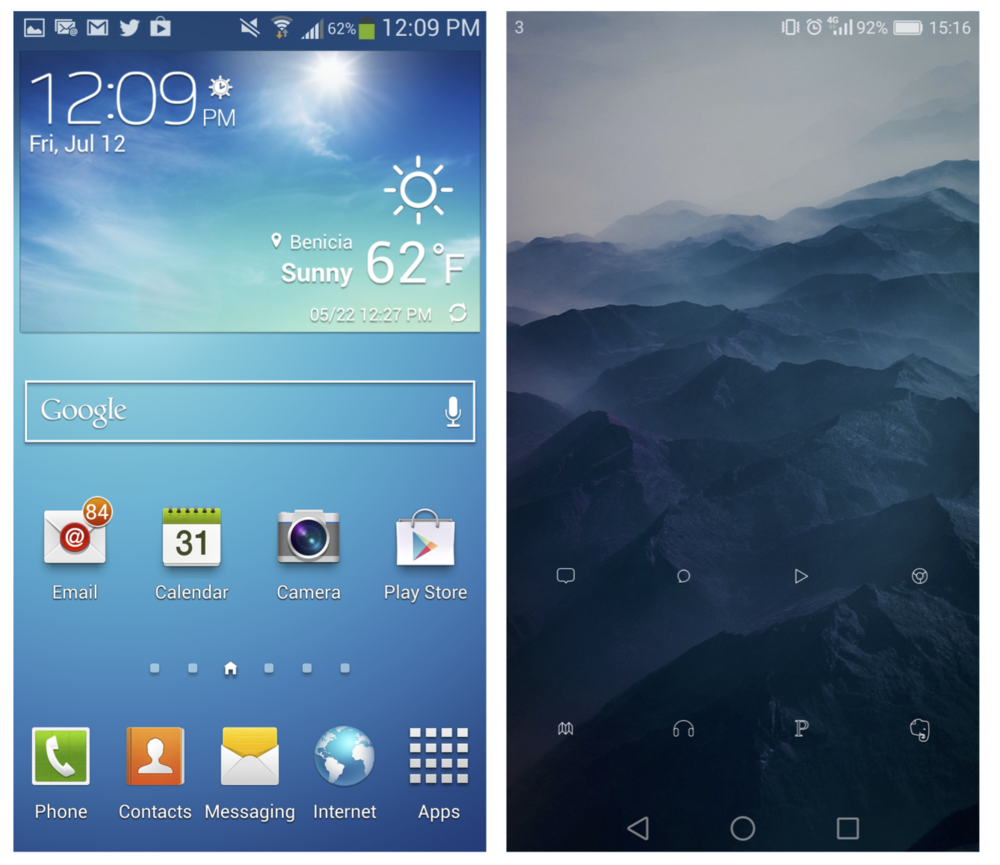 You have a choice with Android. I chose to turn my phone into the one on the right.