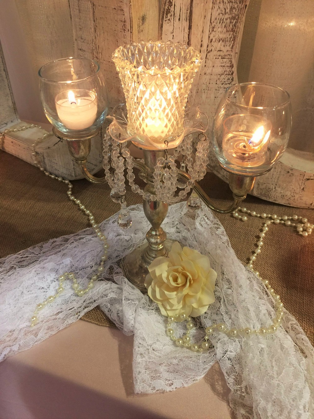 Romantic Lace centerpiece for Wisconsin Dells Wedding