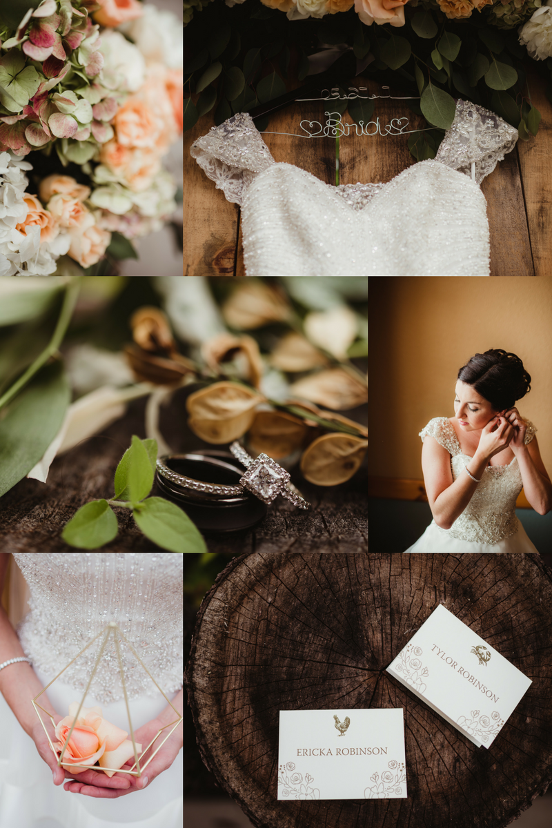 Sage green, peach, and gold rustic wedding. Engagement Rings. Floral Design. Wedding Details.