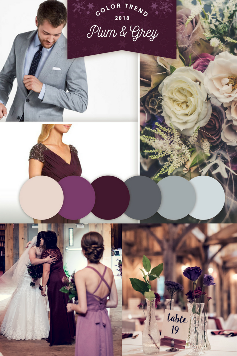 - These rich plum and cool grey tones are perfect for an elegant winter wedding.