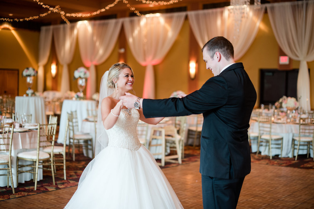 Allie & Tyler Sherron - That one time the entire ballroom was cleared so that these two love birds could slow dance before their guests came in..and then quickly sneak out to do photos...Time definetly sat still. Photo: Tara Draper Photography