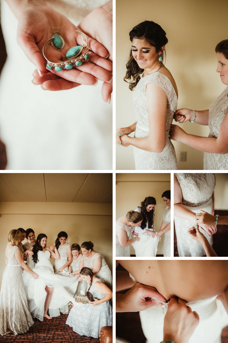 bride and bridesmaids getting ready at Chula Vista resort - wedding - wisconsin dells weddings planner