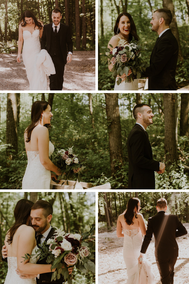 Neira Event Group Erika Diaz Photography Wisconsin Dells Wisconsin WI Bride Happy Couple First Look
