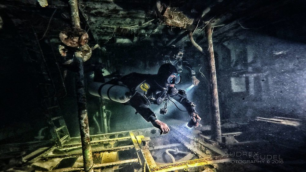 The Author diving the Karwela Wreck Gozo, Malta. Image credit  Audrey Cudel