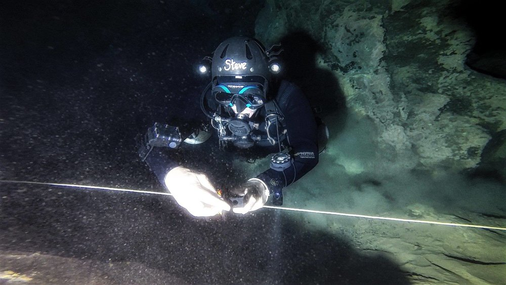 The Author laying a line while cave diving - Cueva Del Agua, Spain. Photo credit  Tom Steiner