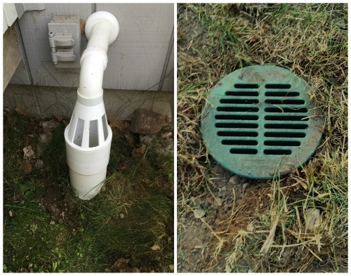 (Right) Ice Guard: In case the underground drain ever freezes, the ice/water will spill out of these holes, instead of backing up into the basement. (Left) Water will normally seep back into the ground from the drywell, but if there is ever a big storm and it floods, the water will bubble up to the surface here.