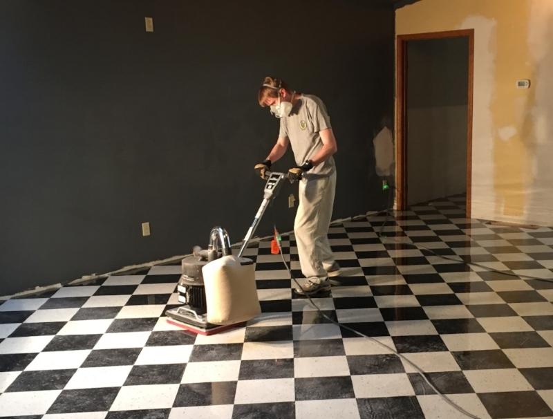 Working that floor sander once again.