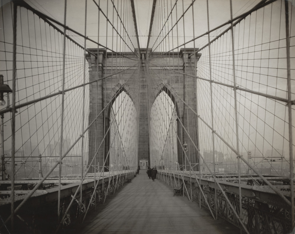 "Unknown photographer.  Brooklyn Bridge . c. 1914. Gelatin silver print, 7 5/8 x 9 9/16"" (19.4 x 24.3 cm). The Museum of Modern Art, New York. The New York Times Collection"
