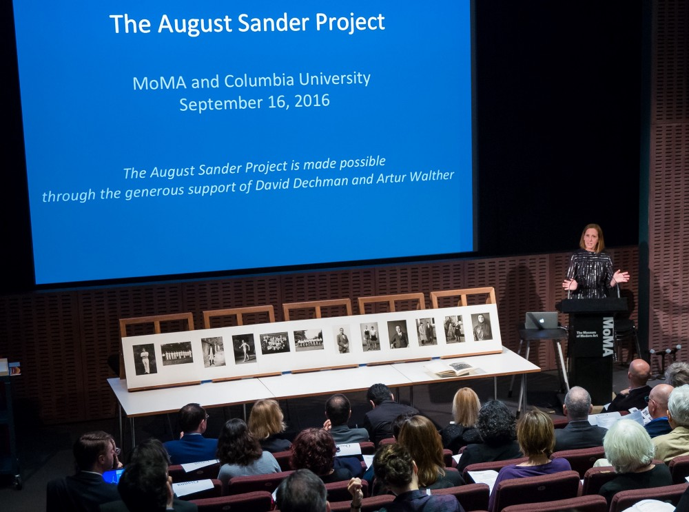 Sarah Hermanson Meister, Curator in MoMA's Department of Photography, at the inaugural August Sander Project symposium, September 16, 2016. Photo: Scott Rudd