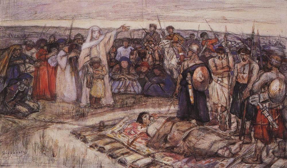 Princess Olga meets the body of her husband, by Vasily Surikov
