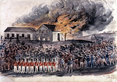 Burning of Bentley's Hotel, by Charles Doudiet