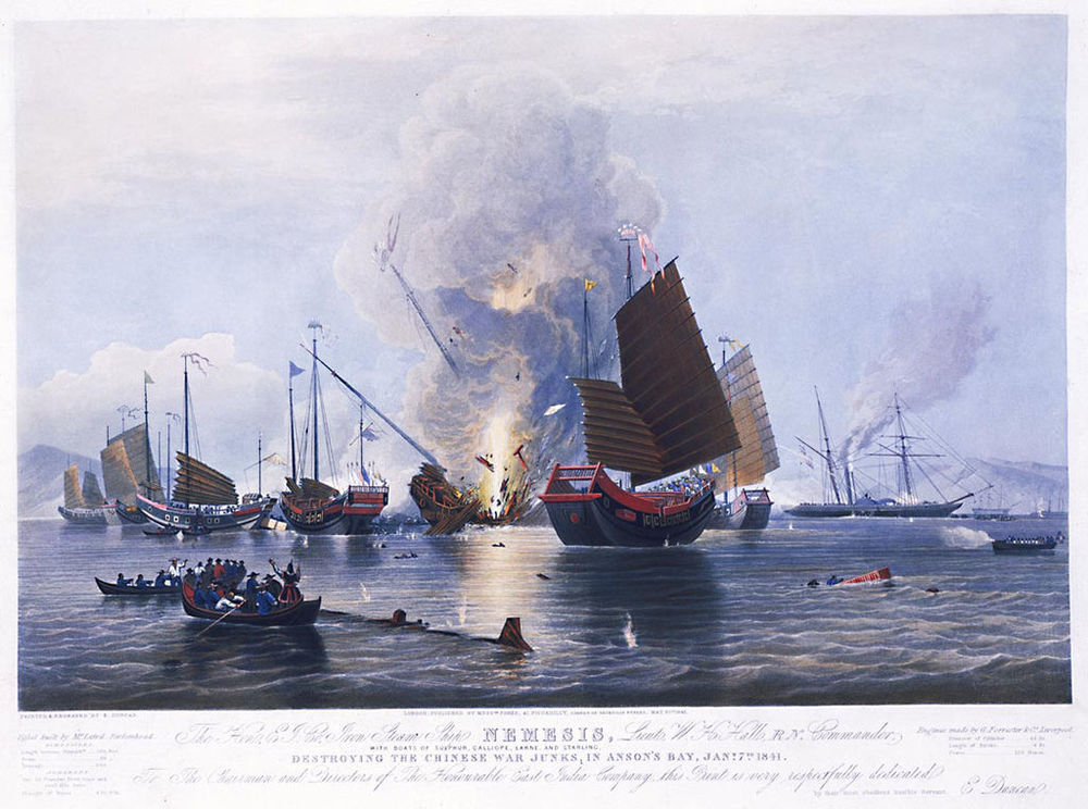 British East India company's Nemesis destroying Chinese War Junks