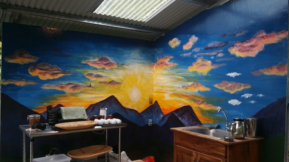 "Mural I painted in the ""coffee hut"" where tourist will roast and taste the coffee beans from the Finca."