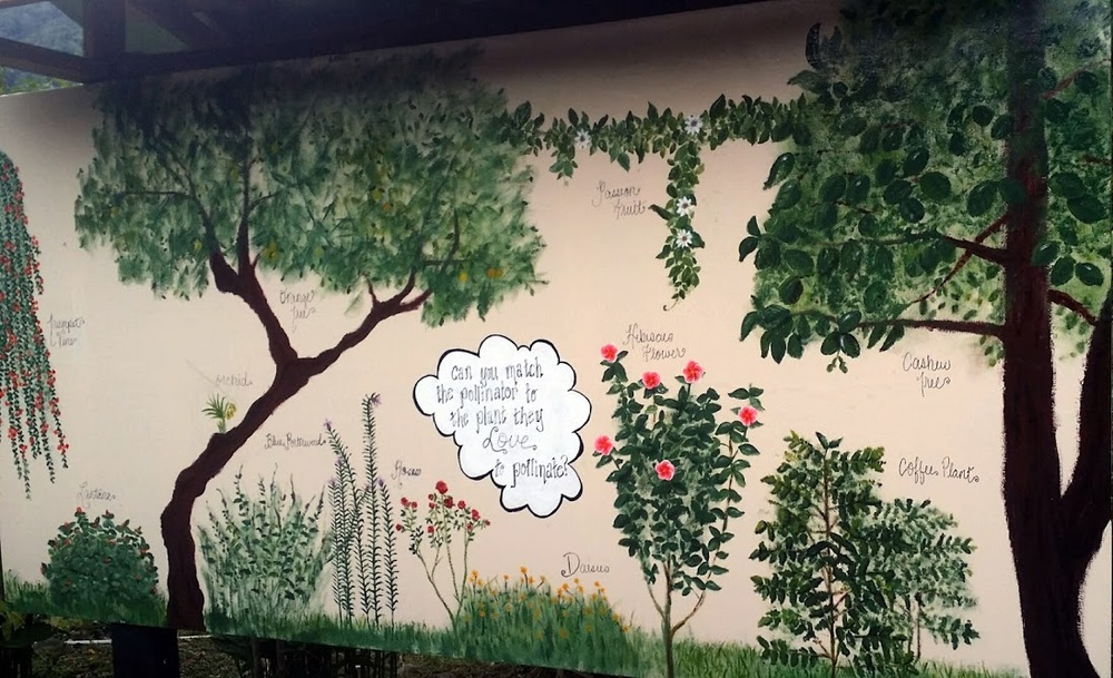 Mural I painted for the honey tour where kids can match the pollinators with the plants from the farm that they like to pollinate.